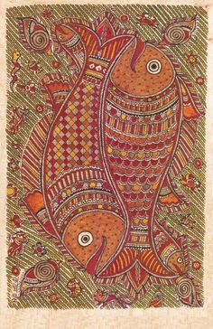 Madhubani or Mithila Paintings are said to have originated during the period of Ramayana, when King Janaka commissioned artists to do paintings during the wedding of his daughter, Sita to Lord Ram. The paintings usually depicted nature and Hindu religious motifs, the themes generally revolve around Hindu deities.http://handicrafts.exoticabazaar.com/view/4843-7-fish119.html