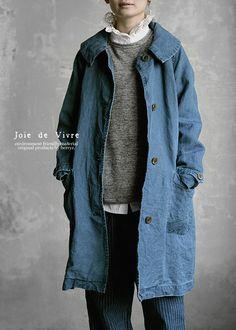 【送料無料】JoiedeVivreリネン和紙インディゴ染めステンカラーコート