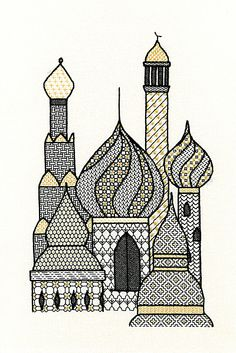 Minarets Blackwork Kit by Sarah May Designs for Classic Embroidery