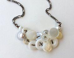 Fancy Long Button Jewelry Necklace in Purple by buttonsoupjewelry