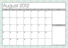 Free August 2012 Calendar