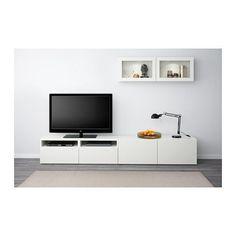 BESTÅ TV-Komb. mit Vitrinentüren - Lappviken/Sindvik Klarglas weiß, Schubladenschiene, sanft schließend - IKEA