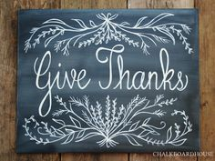 Hand Painted Chalkboard Give Thanks Sign  16x20 by CHALKBOARDHOUSE, $65.00