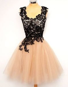 Short homecoming dresses,vintage A-line prom dresses,lace tulle homecoming dress