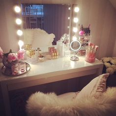 Dressing table. Mirror. Lights. Chest of Drawers. Make up storage.