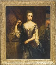 John Riley LONDON 1646 - 1691 PORTRAIT OF JEMIMA CREWE, LATER DUCHESS OF KENT (D. 1728), THREE-QUARTER LENGTH, IN A GREY DRESS, LEANING ON A SCULPTED PEDESTAL.