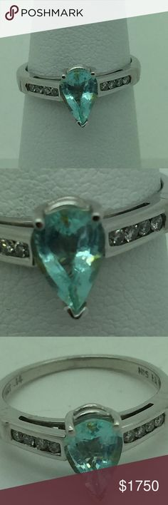 natural Paraiba Brasil diamonds 14k ring natural Paraiba neon original Brasil diamonds 14 kt gold ring, i bought my self in Brasil 8 years ago and my wife don't wear as much so i will pass on same who like, i have house in Brasil and i go ofen there bad u can't  find any more like this stone, all gone only very small this is omost 1 carat weight 2.6 grams, thanks handmade Jewelry Rings