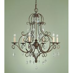 Murray Feiss F1902/6MBZ Crystal Chateau Six Light Chandelier