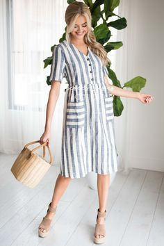 Navy and Oatmeal Striped Modest Dress Modest Dresses, Cute Dresses, Vintage Dresses, Summer Dresses, Summer Outfits, Casual Frocks, Casual Outfits, Maxi Dress With Sleeves, Tulle Dress