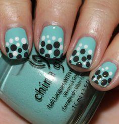 China Glaze For Audrey, Concrete Catwalk & Snow Dot Mani.  www.vampyvarnish.com