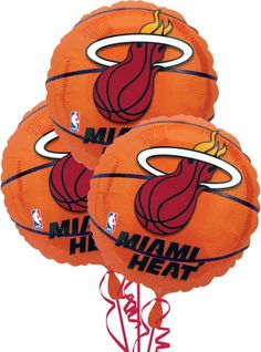 Miami Heat Balloons 18in 3ct - Party City