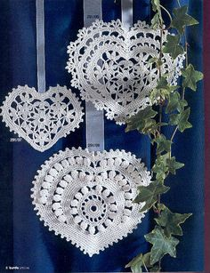 Crocheted doily type hearts - graph included.