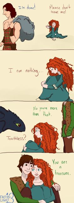 Cute concept, but I'm sorry, Merida would not depend on a guy like that. Seriously. Wtf?