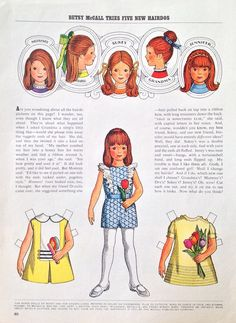 Betsy McCall Mag Paper Doll Betsy McCall Tries 5 New Hairdos June 1971 | eBay