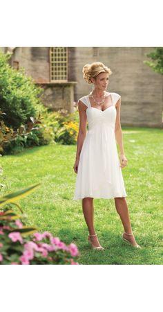 A-Linie aus Chiffon Träger Ärmellos mit Knielang Reißverschluss Weiß Billige Hochzeitskleider kurz