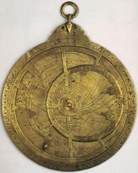 The Earliest Surviving Dated Astrolabe  927 – 928.  The earliest astrolabe. The astrolabe, an astronomical instrument used for observing planetary movements, was indispensable for navigation. A type of analog calculator, brass astrolabes were developed in the medieval Islamic world, and were also used to determine the location of the Kaaba in Mecca, in which direction all Muslims face during prayer. Planispheric, or flat, astrolabes, were more common than the linear or spherical types.