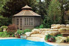 San cristobal pool house with double french doors in Mississauga Ontario. ID number Pool Gazebo, Diy Gazebo, Gazebo Plans, Backyard Patio, Gazebo Ideas, Pool House Shed, Pool Houses, Pool House Designs, Double French Doors