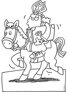 Op het paard Coloring For Kids, Colouring Pages, Winter Time, Paint Colors, Saints, Children, Painting, Fictional Characters, Stamps