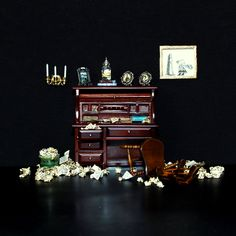 """""""Writer's Block""""    Miniature set design and paper construction (or destruction) by Harvey Brand Imagery."""