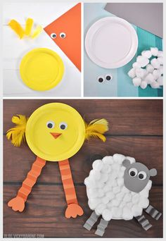 Chick & Lamb Easter Craft Vicky Barone Concept Of Paper Plate Crafts Image Paper Folding Crafts, Paper Plate Crafts For Kids, Bunny Crafts, Easter Crafts For Kids, Crafts For Kids To Make, Easter Activities, Art For Kids, Paper Crafts, Easter Ideas