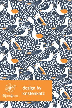 Sea Birds Navy by kirstenkatz - Beautiful sea bird illustration on fabric, wallpaper, and gift wrap. Navy, orange, and white birds and dots in a playful sea themed pattern. Perfect sea themed illustration for making DIY throw pillows or handmade napkins