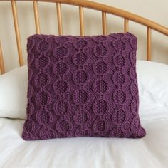 Hand Knitted Cable Cushion / Purple Pillow