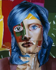 """Daniel Gordon, """"The Green Line"""" series. Portrait with Blue Hair, 2013 Photography inspired by Matisse. Collages, Collage Art, Photo Fair, 3d Paper Art, Diane Arbus, Experimental Photography, Fauvism, Contemporary Photography, Henri Matisse"""