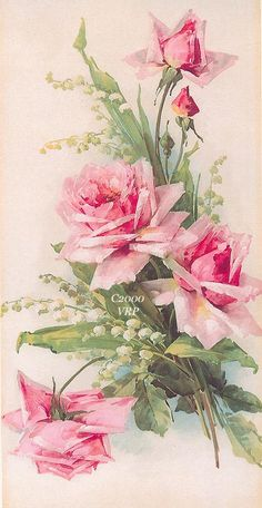 Pink Cabbage Roses Lily of the Valley, Art Print, Catherine Klein, Half Yard Long, Shabby Chic Arte Floral, Vintage Images, Vintage Art, Vintage Prints, Images Victoriennes, Decoupage Vintage, Rose Art, Lily Of The Valley, Fabric Art