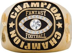 Gold Fantasy Football Championship Ring: Crown's Champion Gold Plated Fantasy Football Championship Rings Are The Perfect Way To Reward Your Champion For A Great Season! Fantasy Football Rings, Championship Rings, Rihanna, Class Ring, Gold Rings, Crown, Jewelry, Corona, Jewlery