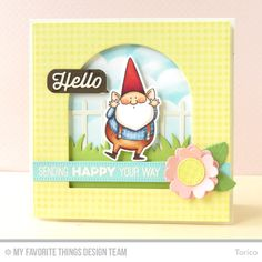 You Gnome Me, Fine Check Background, Friend Request, Totally Happy, Blueprints 3 Die-namics, Garden Fence Die-namics, Royal Leaves Die-namics, Smart Phone Die-namics, You Gnome Me Die-namics - Toricl #mftstamps