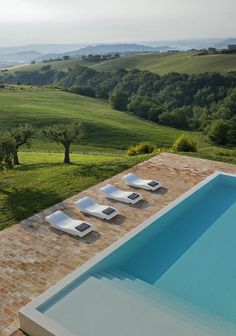 Intriguing Farmhouse Home Conversion for Modern Living Space: Stunning View Elegant Old Farmhouse Exterior Blue Swimming Pool