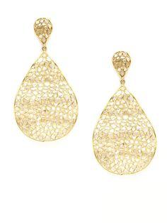 Champagne Diamond Wavy Teardrop Earrings by Loren Jewels on Gilt.com