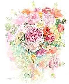 柘植彩子 水彩画 Rose cube1