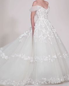 Saiid Kobeisy Dress Spring 2020 Bridal Ready to Wear Collection, Off-White dress with an off-shoulder low-back top embellished with tulle across the back and fully embellished with embroidery and flowers. Lace Wedding Dress With Sleeves, Top Wedding Dresses, Luxury Wedding Dress, Princess Wedding Dresses, Bridal Dresses, Wedding Gowns, Dresses With Sleeves, Marchesa Wedding Dress, Wedding Dressses