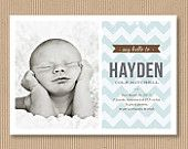 Custom Baby Boy Birth Announcement. 5x7 PRINT YOUR OWN - Chevron    Awesome invitations at this etsy shop!