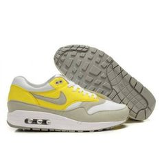 on sale eb84d 7ecce Cheap Best Prices Nike Air Max 1 Mens White And Neutral Grey Vibrant Yellow  Shoes Outlet Sale Store