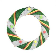 """18"""""""" Pre-Lit Green and White Candy Striped Sisal Artificial Christmas Wreath - Clear Lights"""