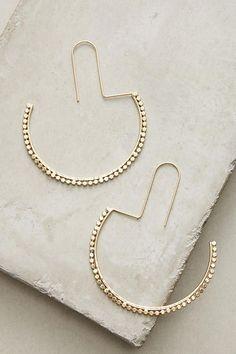 Slide View: 1: Half Moon Hoop Earrings #Earrings