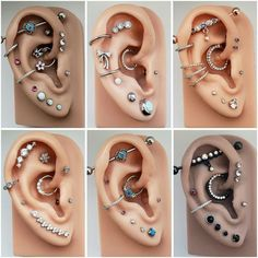 14 Cute and Beautiful Ear Piercing Ideas For Women - Biseyre Trending Ear Piercing ideas for women. Ear Piercing Ideas and Piercing Unique Ear. Ear piercings can make you look totally different from the rest. Piercing Chart, Innenohr Piercing, Ear Piercings Chart, Ear Peircings, Types Of Ear Piercings, Tattoo Und Piercing, Body Piercings, Cartilage Piercings, Women Piercings
