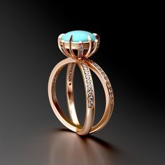 #turquoise Cabochon , #Rosegold and diamonds #3Ddesign