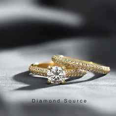 Our Greta design. 💍 Beautiful and elegant yellow gold engagement ring with matching wedding band. Stunning wedding set.  #DiamondSource #DiamondSourceOfficial Matching Wedding Bands, Wedding Sets, Wedding Rings, Diamond Jewelry, Gold Jewelry, Gold Engagement Rings, Wholesale Jewelry, Vintage Rings, Round Diamonds
