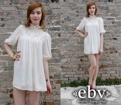 #Vintage #80s #Cream #Sheer #Tent #Mini #Dress S M by shopEBV on Etsy, $65.00