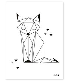 Drawing Portraits - Affiche enfant renard noir et blanc: Discover The Secrets Of Drawing Realistic Pencil Portraits.Let Me Show You How You Too Can Draw Realistic Pencil Portraits With My Truly Step-by-Step Guide. Fuchs Silhouette, Silhouette Portrait, Geometric Drawing, Geometric Art, Geometric Origami, Origami Design, Geometric Cat Tattoo, Geometric Animal, Pencil Drawings
