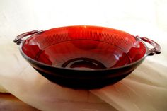 Royal Red Depression Glass Coronation Bowl by ClassicEndearments, $13.99