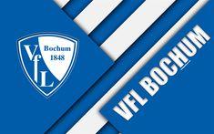 Download wallpapers VfL Bochum 1848 FC, logo, 4k, German football club, material design, white blue abstraction, Bochum, Germany, Bundesliga 2, football