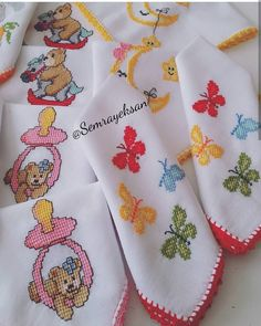 My son's baby handkerchiefs are handmade, his aunt made them. I didn't think that they were gonna work that much. Baby Knitting Patterns, Crochet Bag Tutorials, Palestinian Embroidery, Cross Stitch For Kids, Linen Napkins, Bargello, Baby Sewing, Hobbies And Crafts, Cross Stitch Embroidery