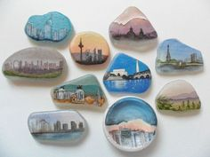 Cityscapes painted on sea glass