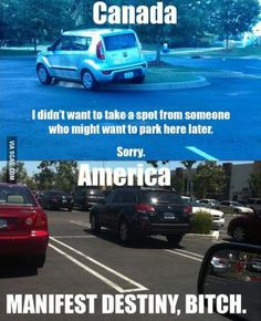 America vs Canada parking ~ even more american.
