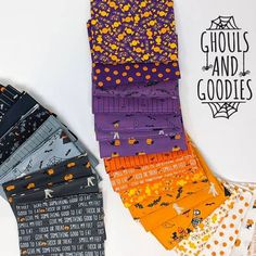 Stacy Iest Hsu has something scary and something sweet to share. Inspired by Halloween, Ghouls And Goodies has creepy spiders, bats and scary costumes, candy prints, ghosts and mummys. And the perfect little text print.