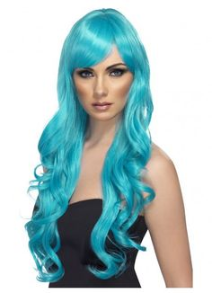 Long Aqua Desire Wig. Desire Wig, Aqua, Long, Curly with Fringe Finish off your 80's or fancy dress costume with this great wig!www.thewigoutlet.com.au